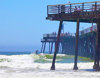 Surfing near the Pismo Beach Pier